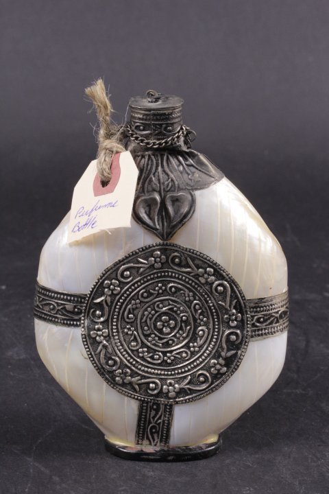 SHELL PERFUME BOTTLE WITH OLD SILVER DECORATION