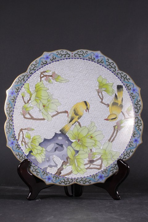 REFINE BIRDS AND FLOWERS PATTERN CLOISONNE PLATE