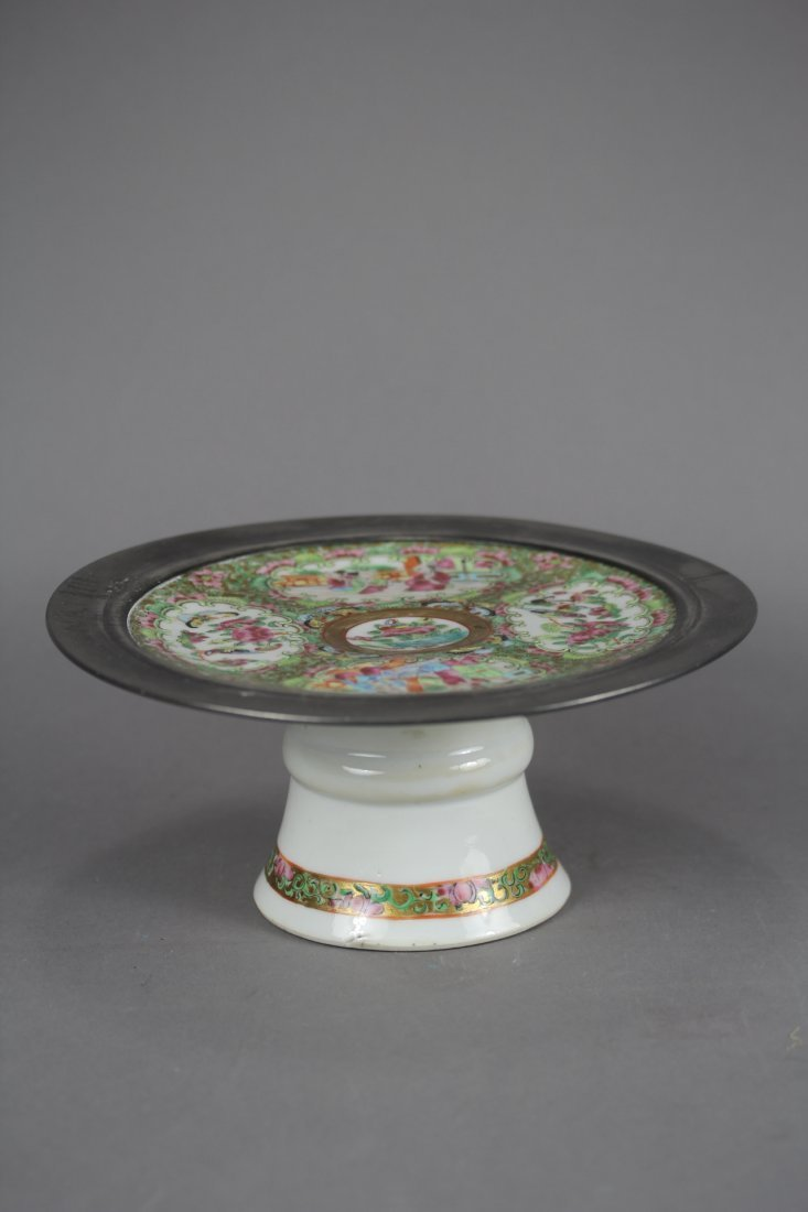 CANTON ENAMEL PORCELAIN HIGHFOOTED PLATE.