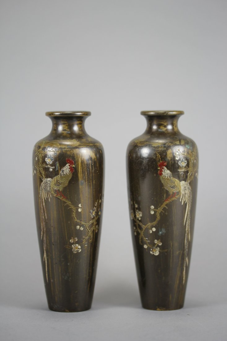 PAIR OF JAPANESE BRONZE COLORED CARVING VASES