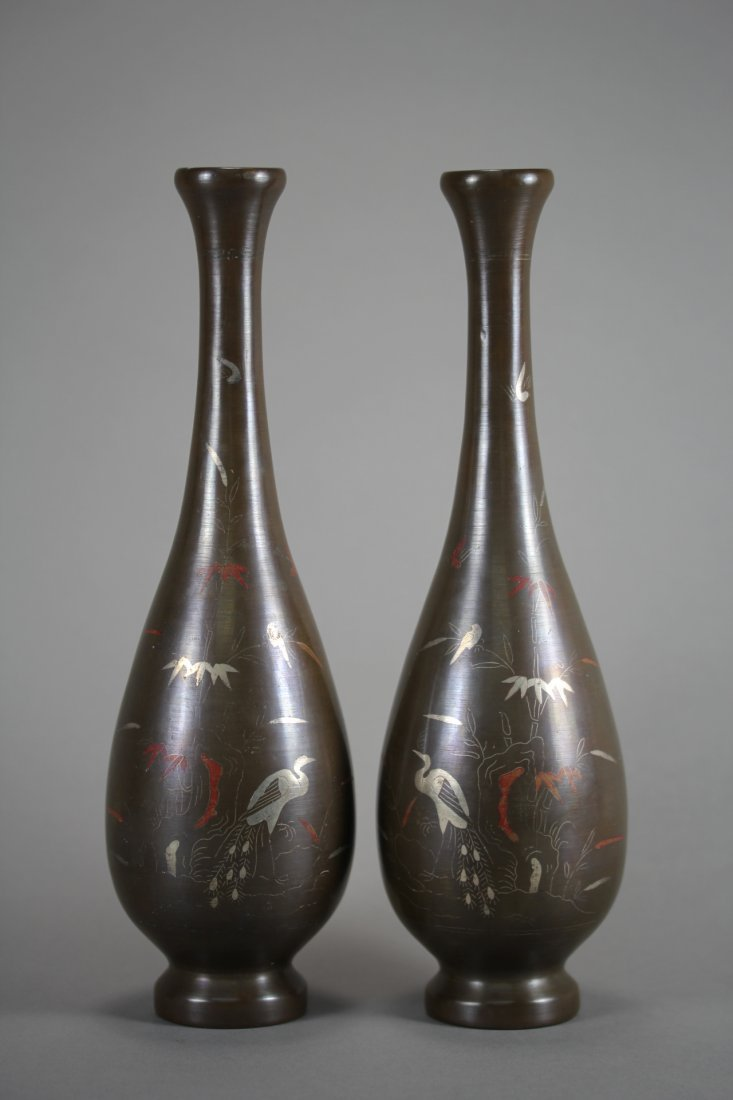 PAIR OF JAPANESE BRONZE CARVING NARROW NECK VASES