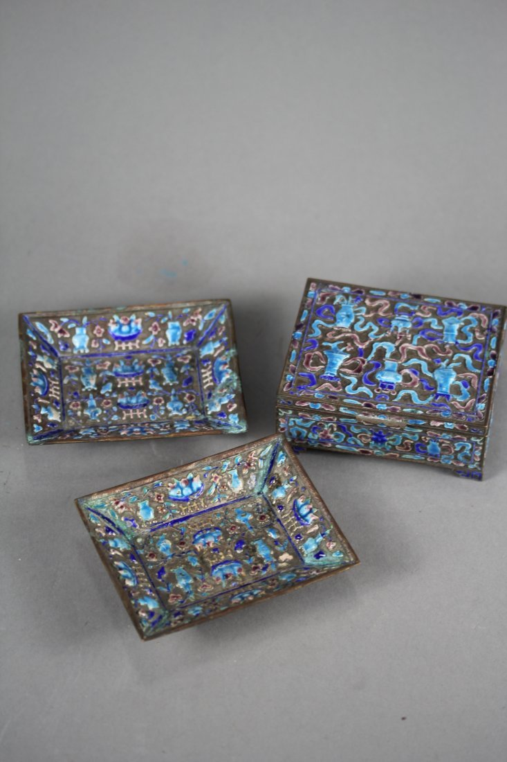 ENAMELING STATIONARY BOX AND TWO PLATES.
