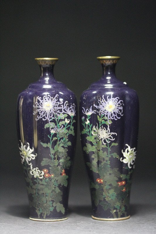PAIR OF REFINED CLOISONNE SHAPED VASES.