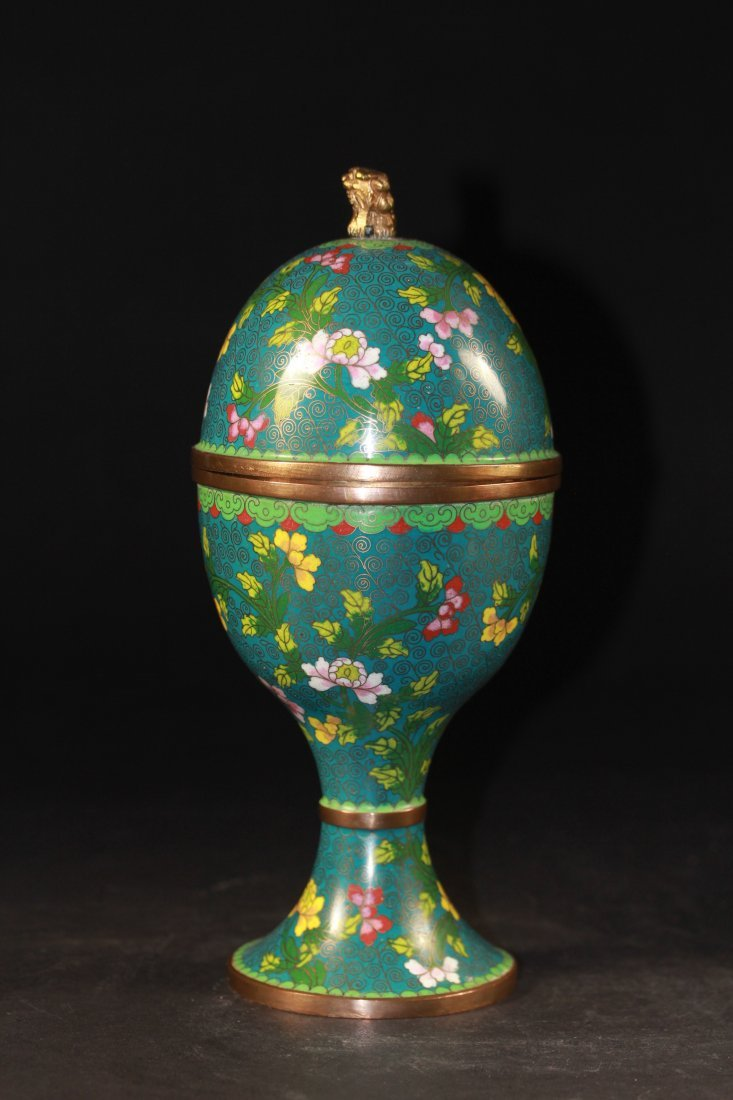 CLOISONNE HIGH FOOTED CUP.