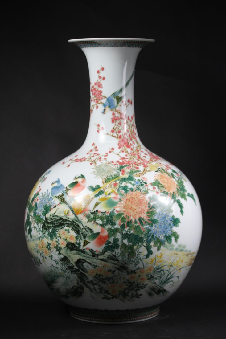 VERY FINE MADE IN-GLAZE COLORED PORCELAIN VASE