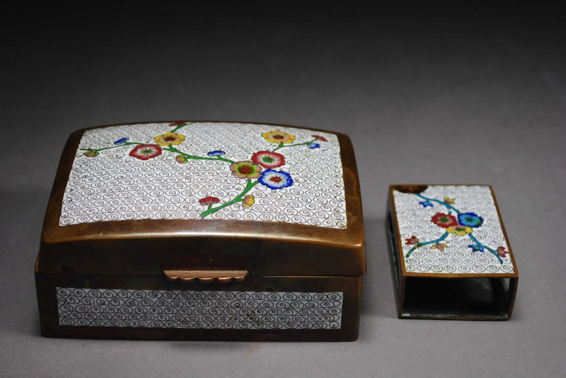 REFINED CLOISONNE SMALL BOX AND STATIONERY BOX.