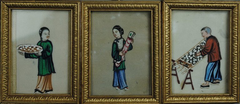 THREE RICE PAPER PAINTING IN FRAME.