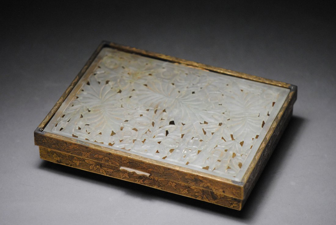 BRONZE RECTANGULAR BOX WITH JADE CARVING INSERTED.