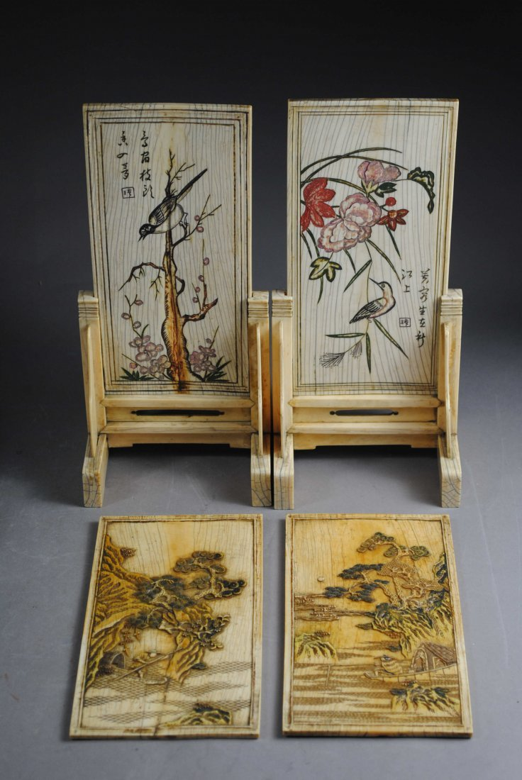 FOUR PIECES OF IVORY BONE CARVING PLAQUES.
