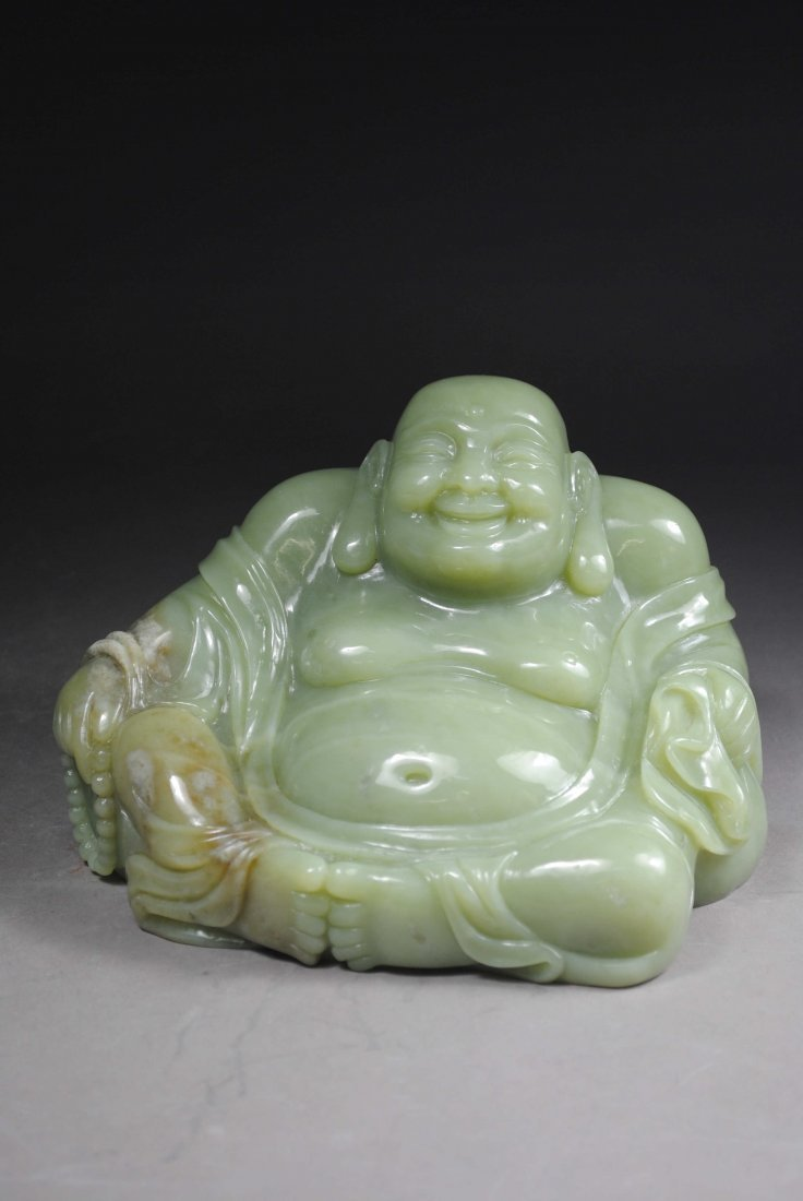 GREEN JADE CARVING DECORATION.