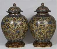 Qing Pair Of Very Fine Cloisonne Lidded General Jars.