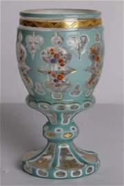 Western Glass Overlay High-Feet Wine Cup.
