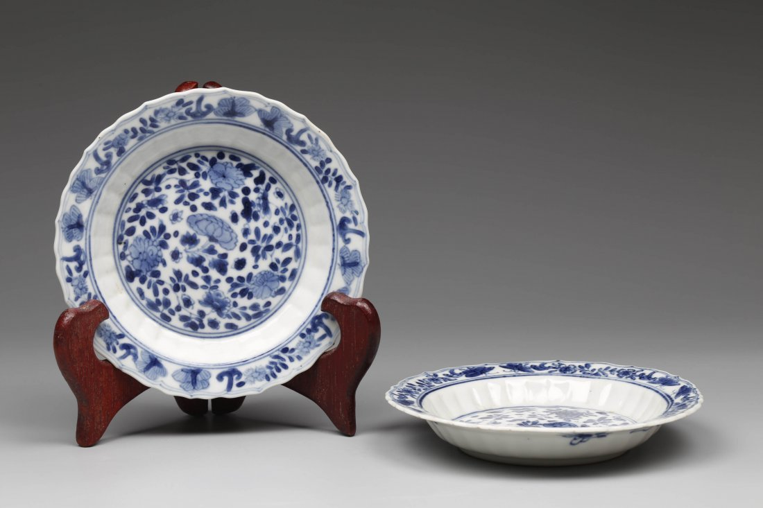 Pair of Export Blue and White Porcelain Plates.