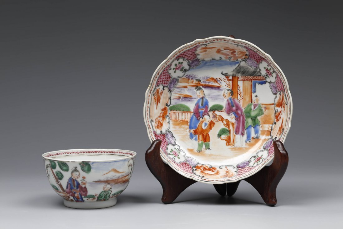 Export Famille Rose Porcelain Cup and Plate.