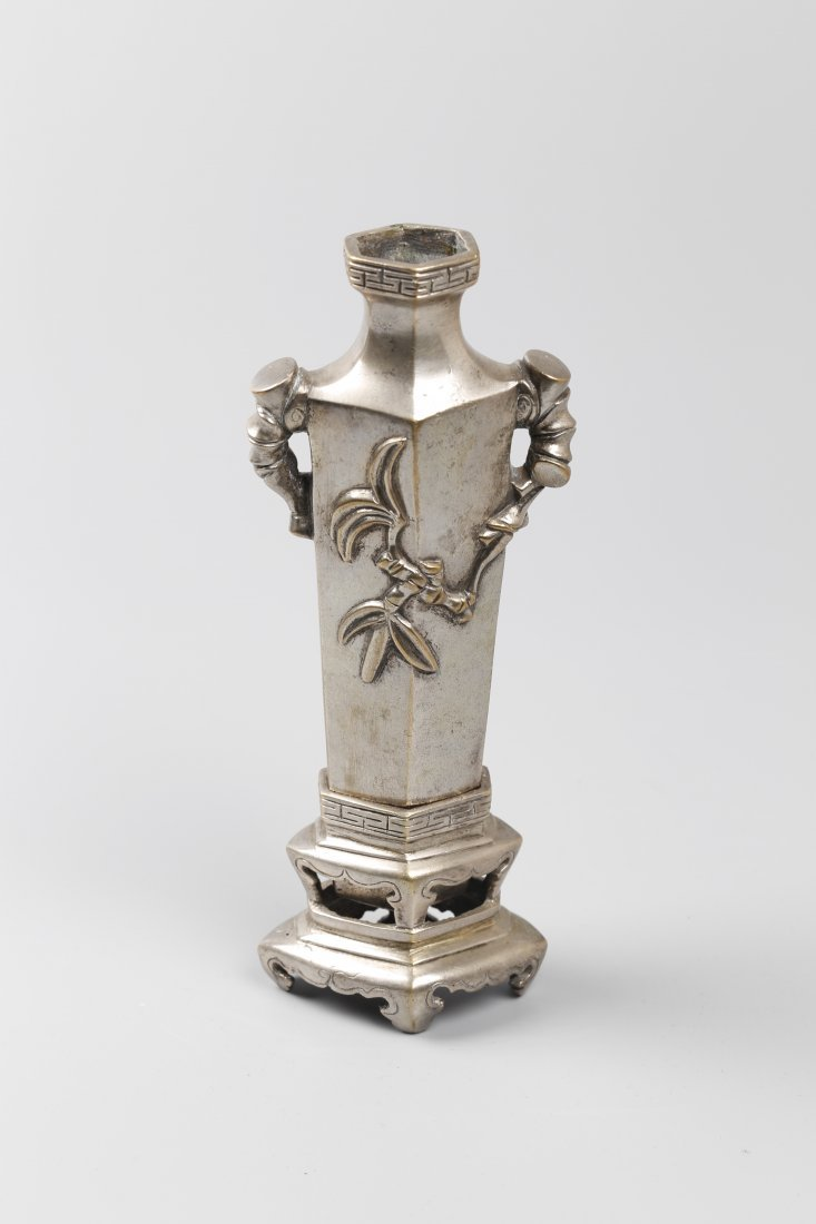Cupronickel W/ Silver Plated Carving Vase.