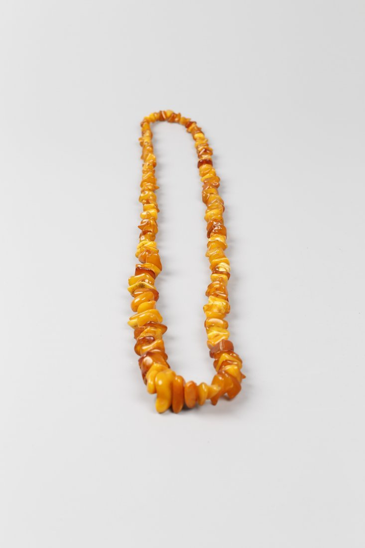 Natural Butterscotch Amber Shaped Beads Necklace.