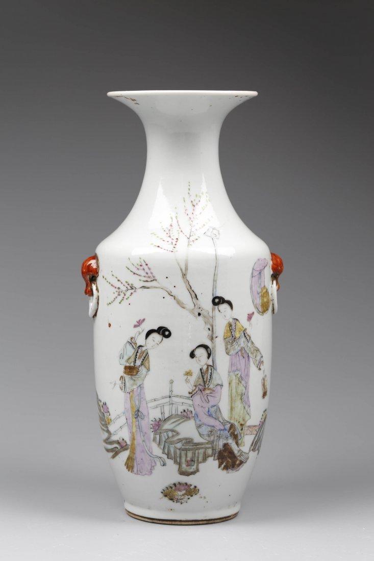 Famille Rose Porcelain Double Ears Vases.
