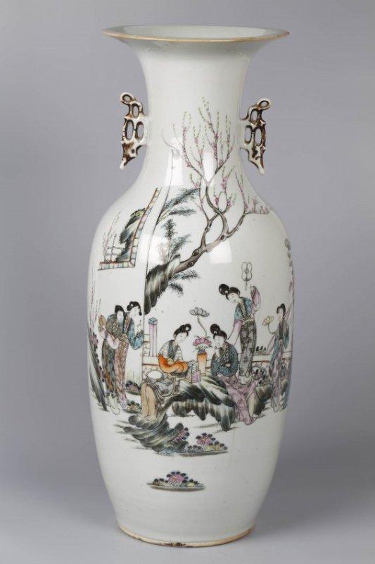 Famille Rose Porcelain Double Ears Vase.