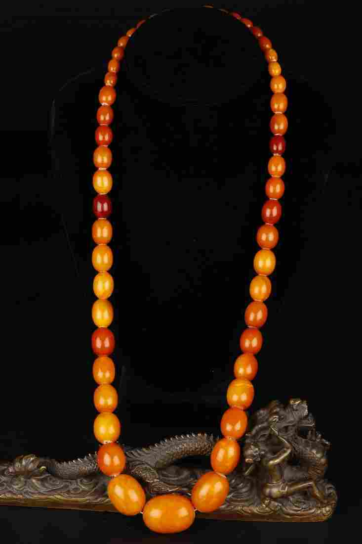 Natural Old Butterscotch Amber Beaded Necklace.