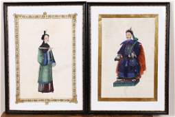 A Pair of Hand Paintings on Rice Paper