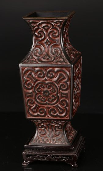A Marbled Lacquer Ware Vase.