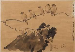 "Xu BeiHong, Chinese Painting ""Birds"" in Frame."
