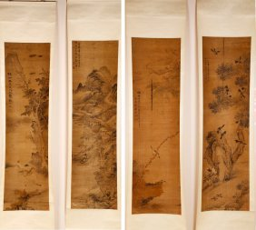 A Set Of 4 Chinese Hand Painting By 4 Artists
