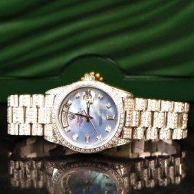 Rolex 18k Platinum Diamond Automatic Watch