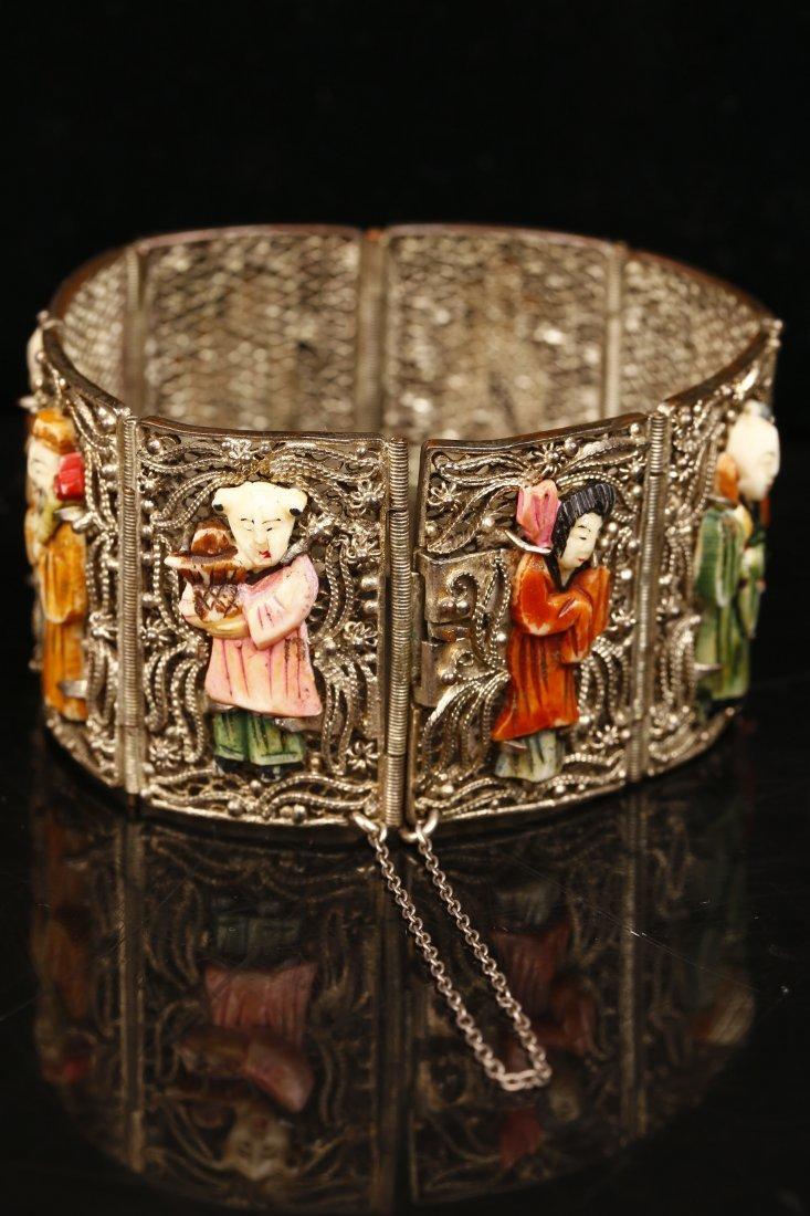 A Filigree Silver & Ivory Bone Carving Bracelet.