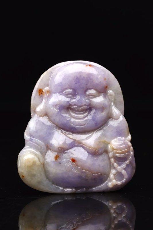 Natural Lavender Jadeite Carving Pendant.