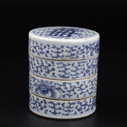 Blue and White Porcelain Three Layers Box.
