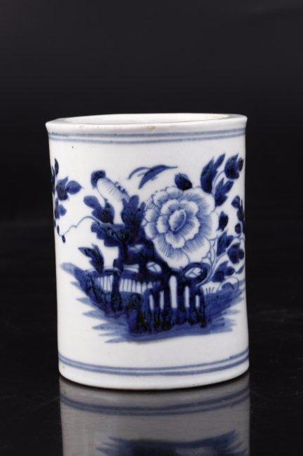 Blue and White Porcelain Brush Holder.