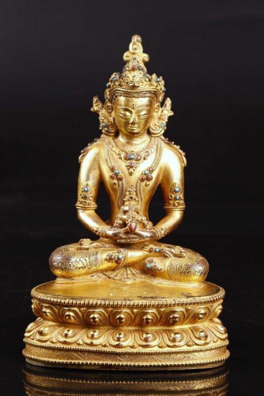 A Tibetan Antique Jeweled Gilt Bronze Amitayus.
