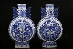 Pair of Mid Qing Dynasrt Blue & White Porcelain Vases.
