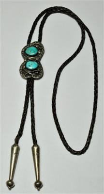 2: Old Pawn Turquoise Sterling Silver Bolo Tie
