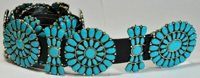 4: Navajo Turquoise Sterling Silver Concho Belt - Jul