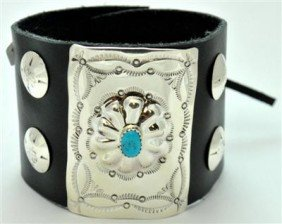 5: Navajo Turquoise Sterling Silver Small Bow Guard