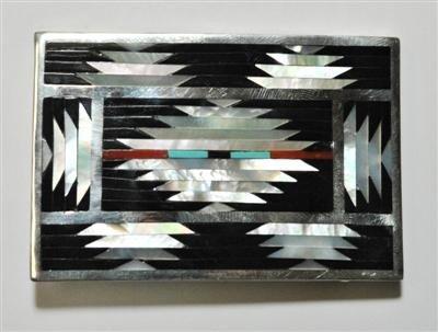 6: Zuni Multi-Stone Sterling Silver Buckle - C. Disht