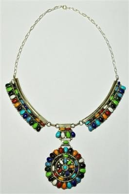 Navajo Multi-Stone Sterling Silver Necklace - Juli