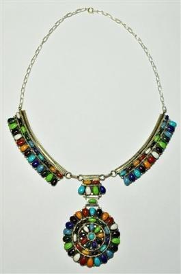 8: Navajo Multi-Stone Sterling Silver Necklace - Juli
