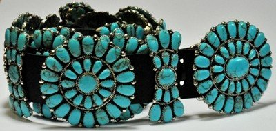10: Navajo Turquoise Sterling Silver Concho Belt - Jul