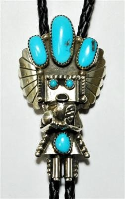 12: Navajo Turquoise Kachina Sterling Silver Bolo Tie