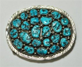 16: Navajo Turquoise 23-Stone Sterling Silver Buckle -
