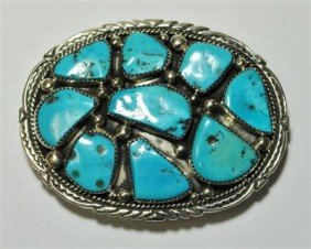 19: Navajo Turquoise 9-Stone Sterling Silver Buckle -