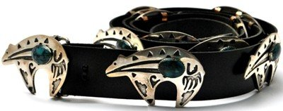 22: Navajo Turquoise Bear Sterling Silver Concho Belt