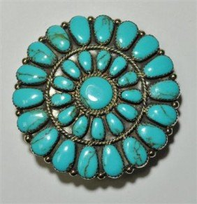 23: Navajo Turquoise Smooth 32-Stone Buckle