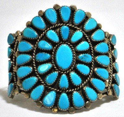 388: Old Pawn Turquoise Sterling Silver Cuff Bracelet