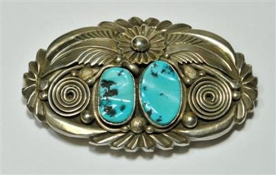 534: Old Pawn Turquoise Rough 2-Stone Sterling Silver B