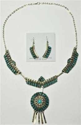 540: Navajo Turquoise Sterling Silver Necklace & Earrin