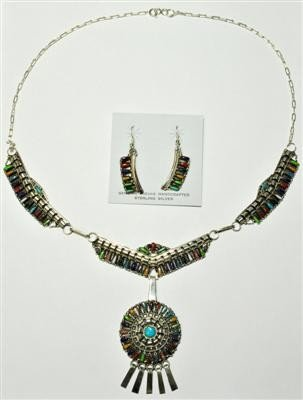 550: Navajo Multi-Stone Sterling Silver Necklace & Earr